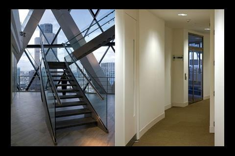 Tenants' fit-outs include a private staircase within a lightwell and a corridor shared by four firms.